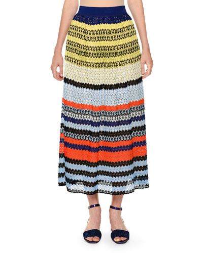 Multicolor Lace Knit Full-Length A-Line Skirt, Multi Pattern