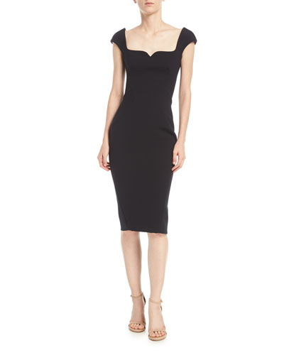 Sweetheart Cap-Sleeve Crepe Sheath Cocktail Dress