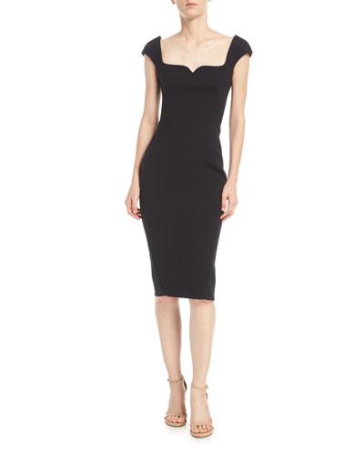 Sweetheart Cap-Sleeve Crepe Sheath Cocktail Dress