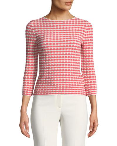 Bracelet-Sleeve Patterned Jersey Knit Top