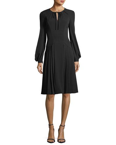 Tie-Neck Long-Sleeve Crepe Dress