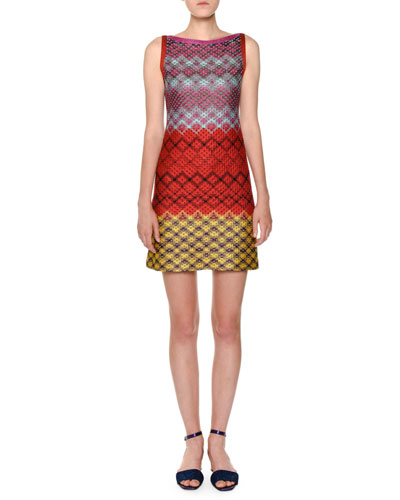 SLEEVELESS MULTICOLOR SHIFT DRESS