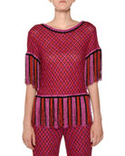 Short-Sleeve Fringe-Hem Multicolor Knit Top