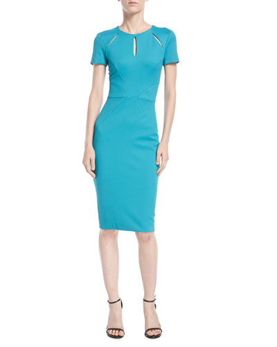 Cutout-Neckline Cap-Sleeve Jersey Cocktail Dress