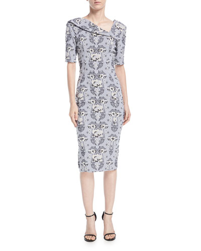 Asymmetric-Neck Damask Stretch-Jacquard Sheath Cocktail Dress