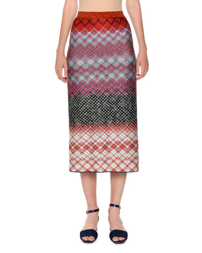 Multicolor Knit Pull-On Straight Skirt