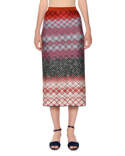 Multicolor Knit Pull-On Straight Skirt