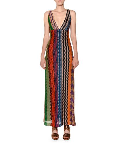 Plunging Twist-Back Multicolor Knit Maxi Dress
