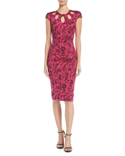 Party-Jacquard Cutout-Neckline Sheath Cocktail Dress