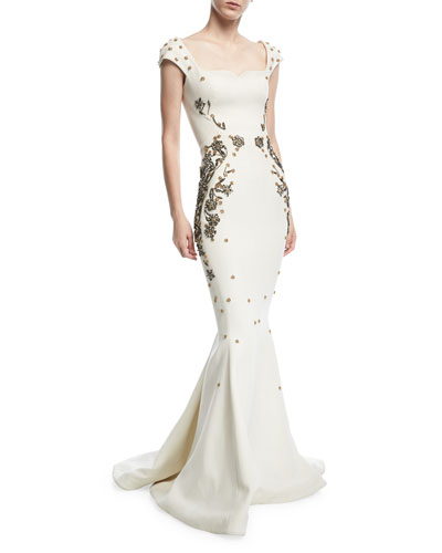 Jewel Embroidered Square-Neck Trumpet Evening Gown