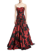 Strapless Floral-Printed Evening Gown w/ Full Skirt