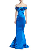 Off-the-Shoulder Stretch-Satin Trumpet Evening Gown