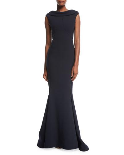 High-Neck Cap-Sleeve Evening Gown