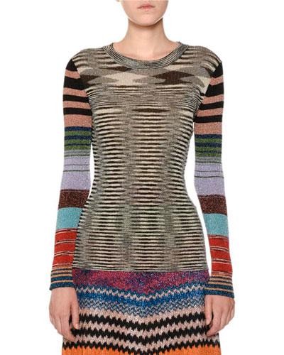 Crewneck Long-Sleeve Lurex® Striped Knit Top
