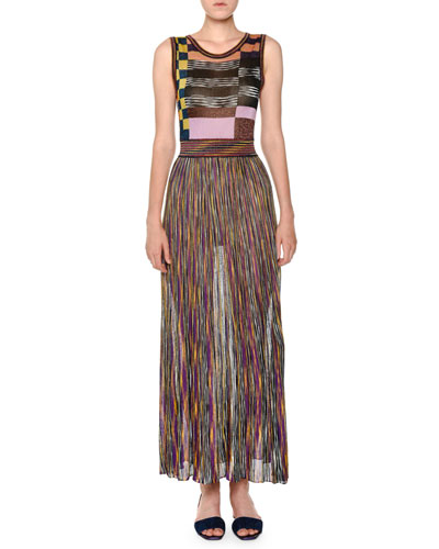 Quick Look. Missoni · Sleeveless Multicolor Pleated Knit Maxi Dress