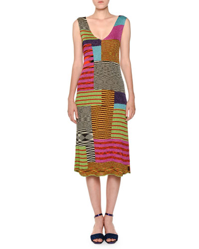 V-Neck Sleeveless A-Line Multicolor Knit Midi Dress