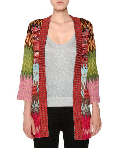 Open-Front 3/4-Sleeve Knit Oversized Cardigan