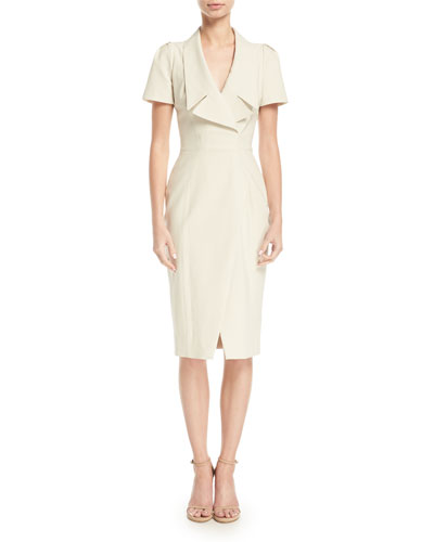 Collared Short-Sleeve Cocktail Dress w/ Asymmetrical Slit