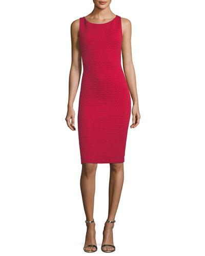 Scoop-Neck Sleeveless Tonal-Grid Stretch-Knit Sheath Dress