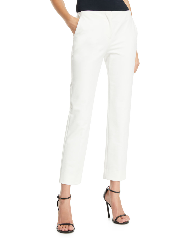 Straight-Leg Cropped Cotton-Blend Pants