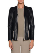 Zip-Front Fitted Leather Jacket w/ Whipstitch Trim