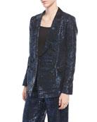 Metallic Tweed Double-Breasted Jacket
