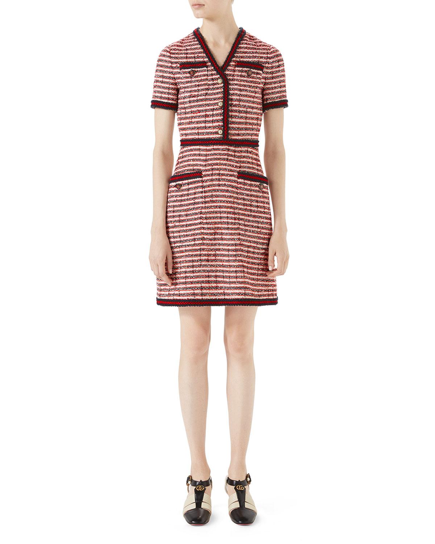 Striped Tweed V-Neck Dress