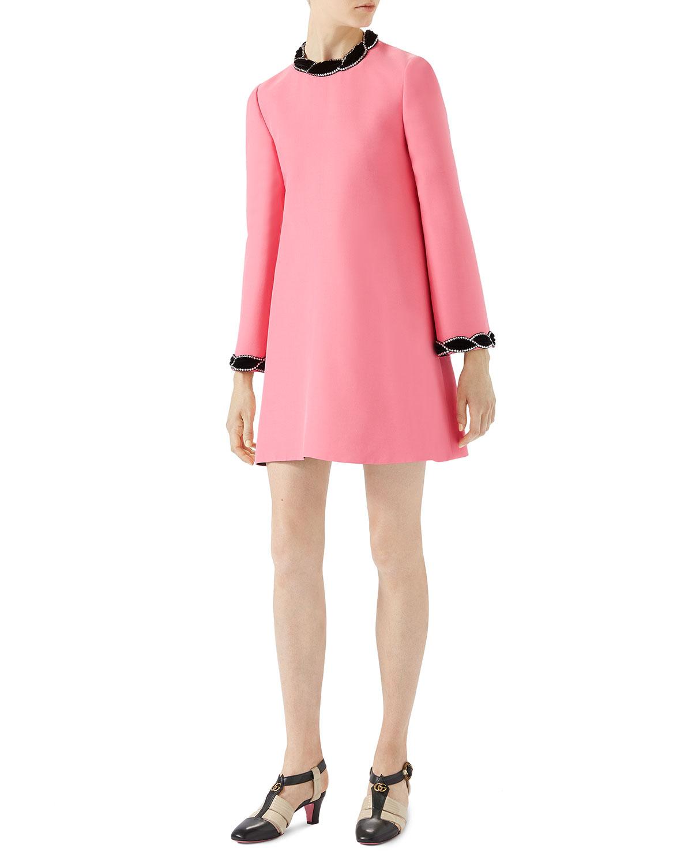 Wool-Silk Dress with Velvet Trim