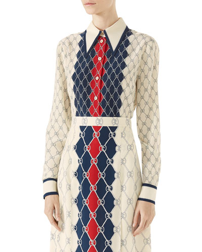 Long-Sleeve Gucci Rhombus-Print Shirt