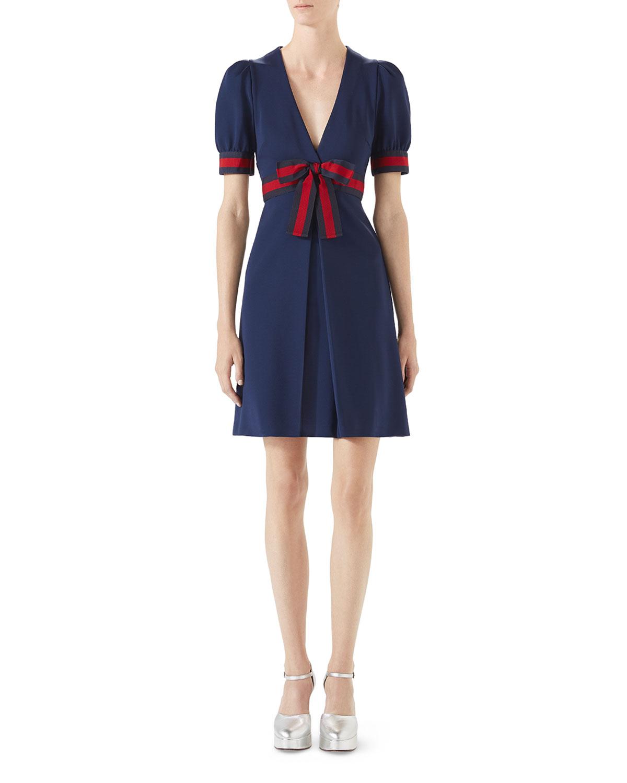 Jersey V-Neck Dress with Web