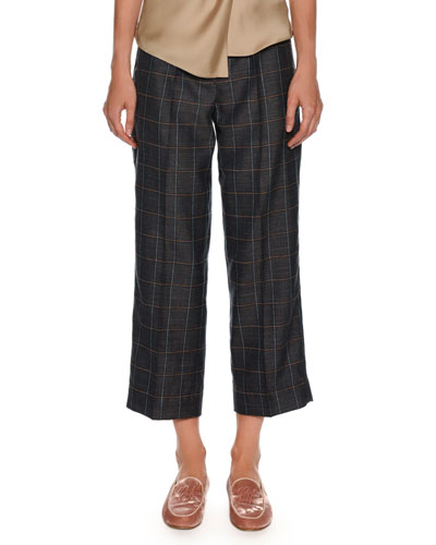 Windowpane-Check Wide-Leg Belted Crop Pants