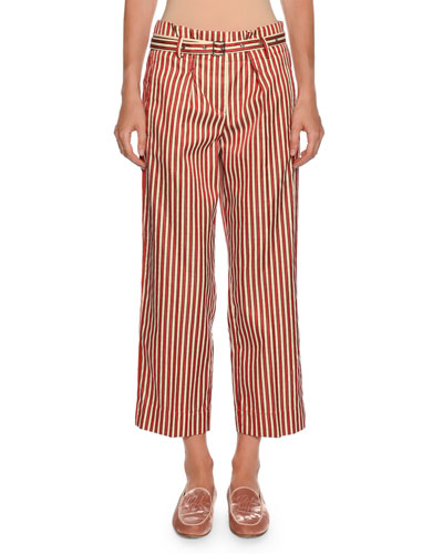 Multi-Striped Wide-Leg Cotton-Silk Pants