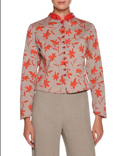 Mandarin-Collar Floral-Print Short Jacket