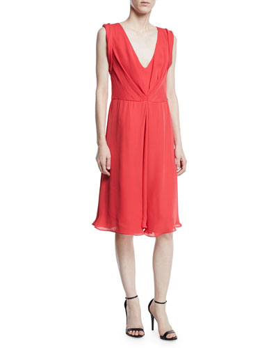 Deep-V Sleeveless A-Line Knee-Length Dress