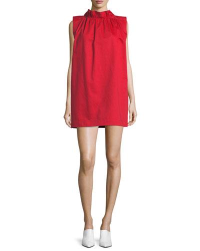 High-Neck Sleeveless Cotton-Linen Shift Dress