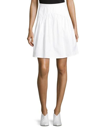 High-Waist A-Line Poplin Skirt