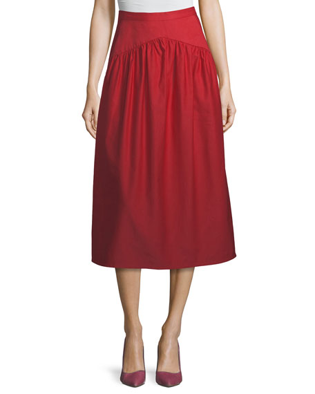 Atlantique Ascoli Ankle-Length A-Line Cotton-Linen Midi Skirt