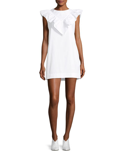 High-Neck Sleeveless Poplin Shift Dress w/ Ruffled Frill