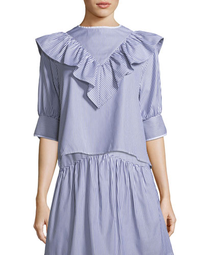 Dimanche Elbow-Sleeves Striped Poplin Blouse w/ Ruffled Frill
