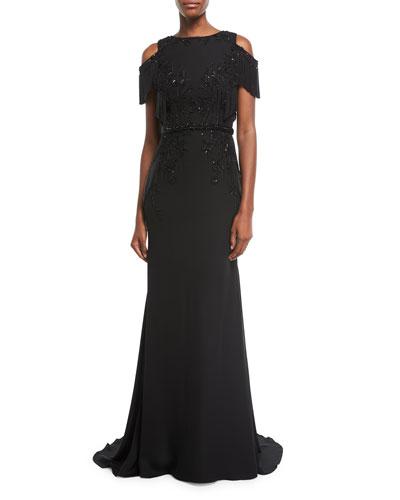 Embellished Cold-Shoulder Georgette Evening Gown with Fringe