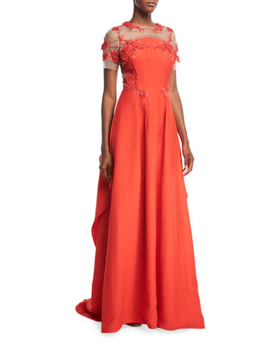 Silk Faille Evening Gown with Floral-Embroidery