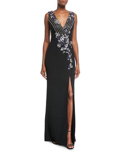 Deep v neckline gown neiman marcus quick look junglespirit Images