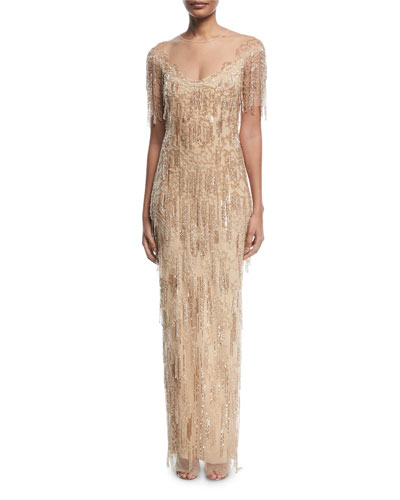 Beaded-Fringe Column Evening Gown