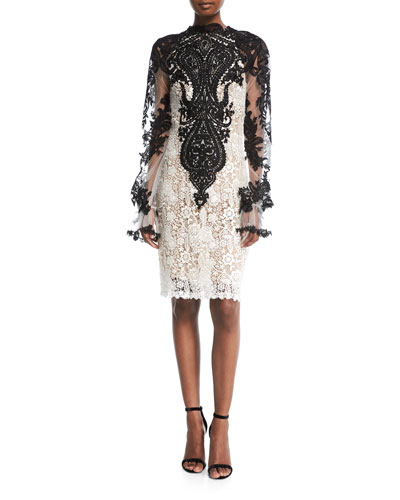 High-Neck Long-Sleeve Knee-Length Lace Cocktail Dress