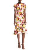 High-Neck Floral-Print Matelassé Midi Cocktail Dress