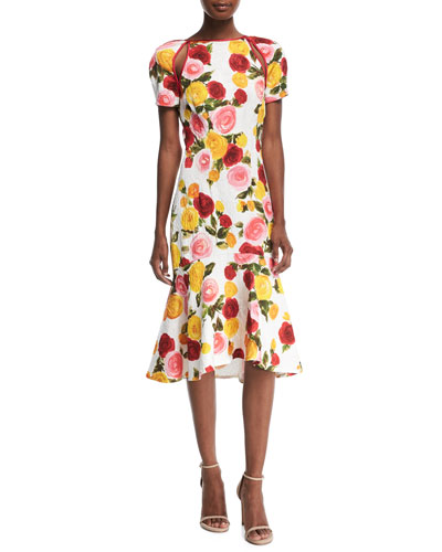 NAEEM KHAN High-Neck Floral-Print Matelasse Midi Cocktail Dress in White Pattern