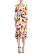 Deep-V Long-Sleeve Floral-Print Midi Dress