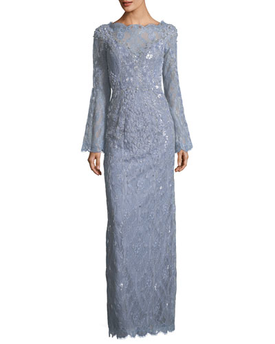 Bell-Sleeve Beaded Lace Column Evening Gown