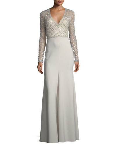 V-Neck Long-Sleeve Beaded Top Crepe Skirt Evening Gown