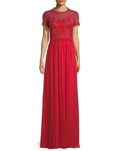 Short-Sleeve Round-Neck Lace & Sequin Top Evening Gown
